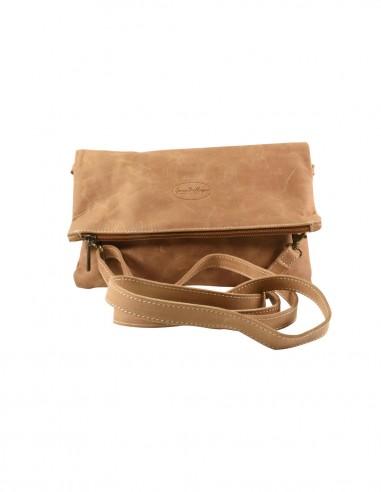 Shoulder bag suede leather biscuit