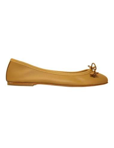 Flats - cognac soft leather