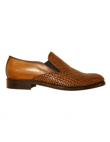 Loafers - with elastic - braided leather